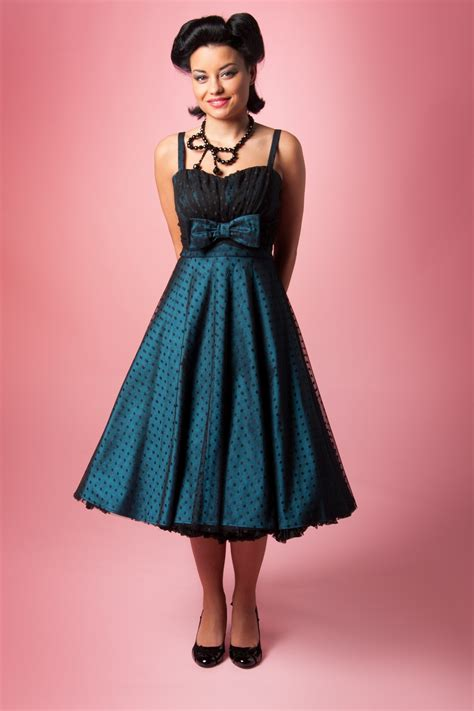 1940s swing dress 1940s starlight teal black lace dot swing dress