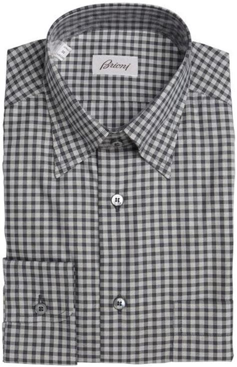 Black Dress Shirt Button Collar by Brioni Black Gingham Cotton Button Collar