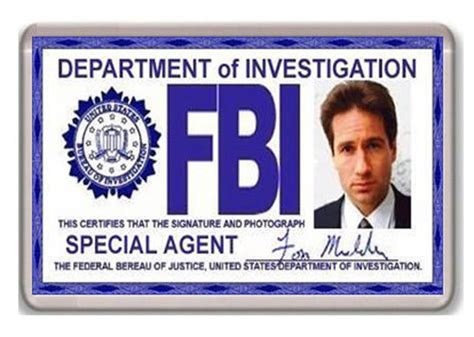 fbi id card template fbi fox mulder id card x files fridge magnet iman nevera