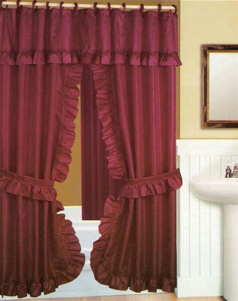 burgandy shower curtain double swag shower curtain with liner set burgundy 70x72