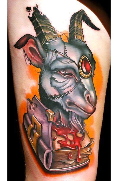 new school goat tattoo new school wise goat tattoo idea