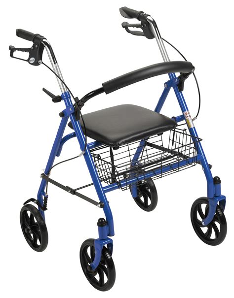 drive 4 wheel walker with seat four wheel rollator walker with fold up removable back
