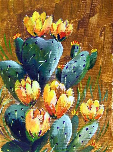 acrylic painting exercises for beginners back to basics prickly pear cactus acrylic painting