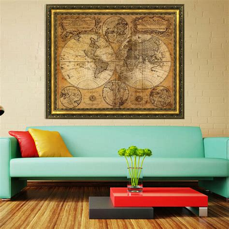 world home decor vintage style retro cloth poster globe old world nautical