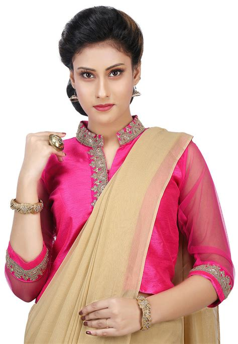 Blouse Jaket embroidered dupion silk jacket style blouse in pink ubd835