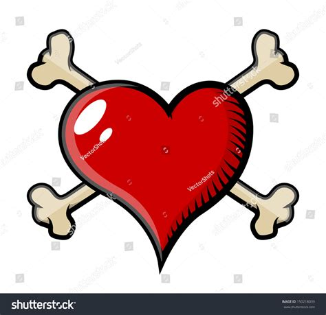 heart tattoos vector crossed bones heart tattoo vector cartoon stock vector