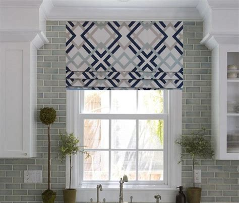 yellow pattern roman shade faux roman shade lined mock valance geometric print navy