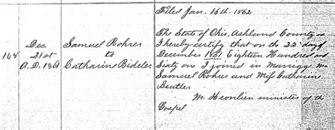 Butler County Ohio Marriage Records 1861 On 22 December Samuel Rohrer And Catherine Butler Bideler Beutler Were Married