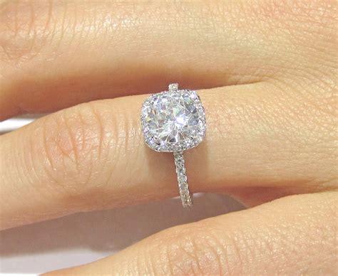 Princess Cut Diamond Engagement Ring On Hand Hd Carat