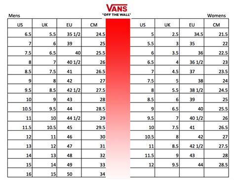 Shoe Size Chart Vans | vans shoes size conversion chart soleracks