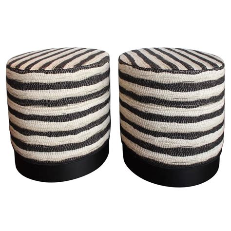 black and white ottoman black and white stripe ottomans at 1stdibs