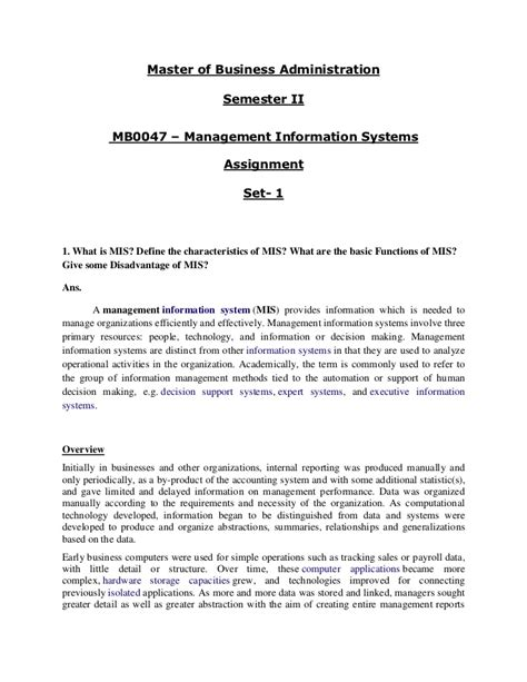 Mba Management Information Systems Notes by Management Information System