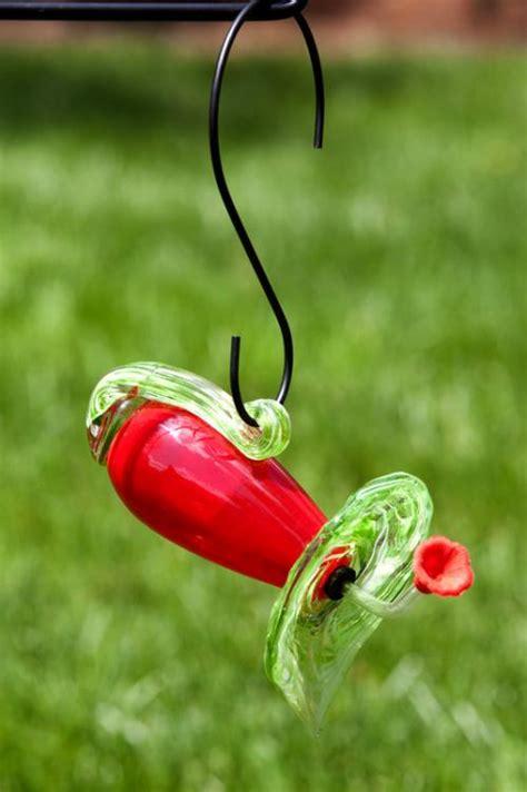 red hand blown glass trumpet hummingbird feeder ebay