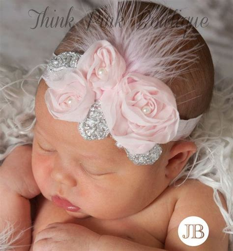 baby pink feather headband hair bows pink headband pink baby headband newborn headband baby
