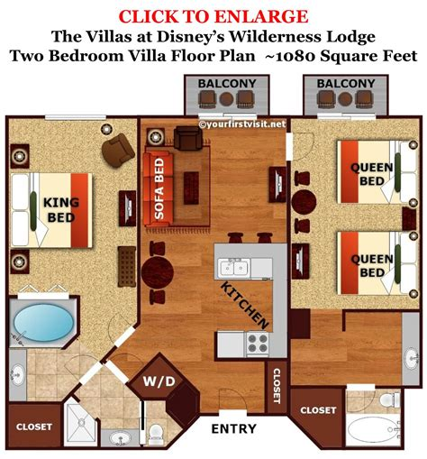 grand floridian 2 bedroom villa floor plan sleeping space options and bed types at walt disney world
