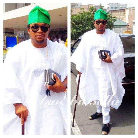 nigerian aso ebi fashion styles for men white agbada green aso oke cap aso ebi bella