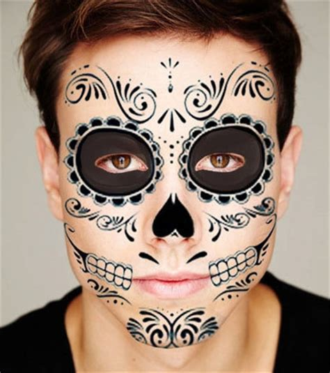 day of the dead face tattoo black skeleton day of the dead temporary kit 1