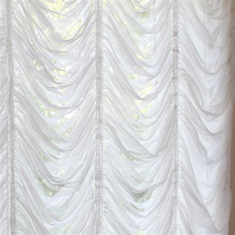 Austrian roman balloon white tulle lace curtain shade