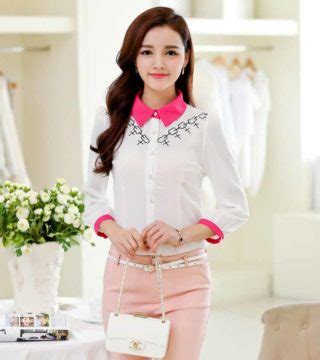 Model Terbaru Murah Kode 5027 Pink Best Seller kemeja wanita warna putih pink cantik model terbaru jual murah import kerja