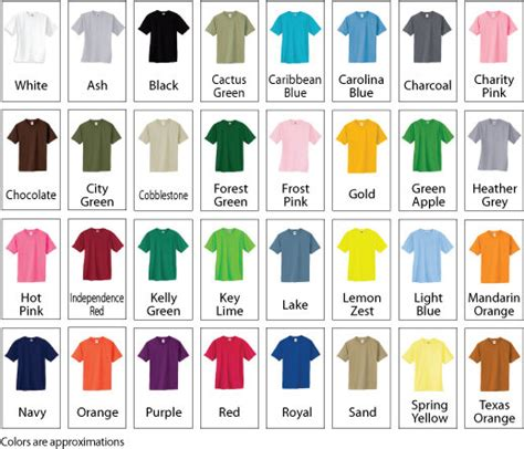 shirt color chart kd s graphicskd s graphics
