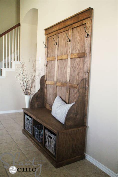 woodwork antique hall tree storage bench  plans