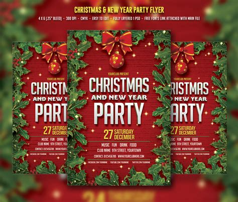 party title for christmas new year new year flyer templates on creative market