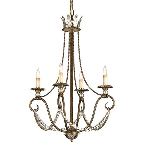 Chandelier Swag Vintage Inspired Swag 4 Light Chandelier Kathy Kuo Home