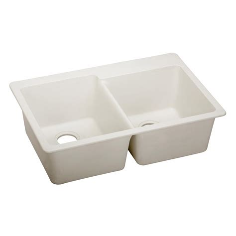 Elkay Elkay By Schock Dual Mount Quartz Composite 33 In Double Bowl Kitchen Sink In White Elkay Schock Sink Template