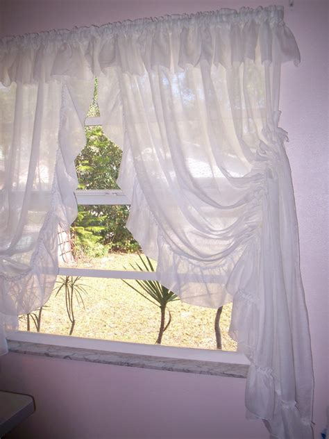 Vintage Priscilla Curtains white self sheering Country