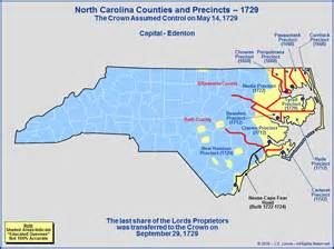 the royal colony of carolina counties as of 1729