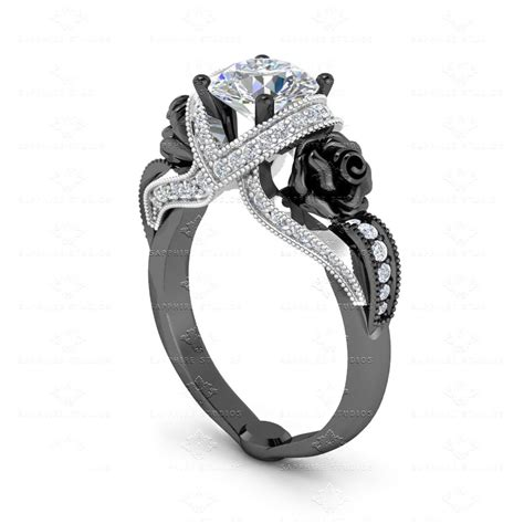 Verlobungsringe Schwarz Silber by L Amour 1 65ct White Black Silver Engagement Ring