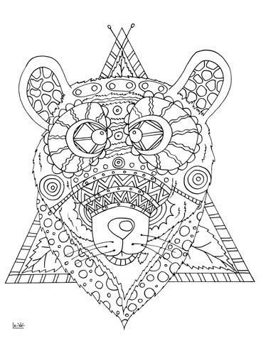 bear  tribal pattern coloring page  printable