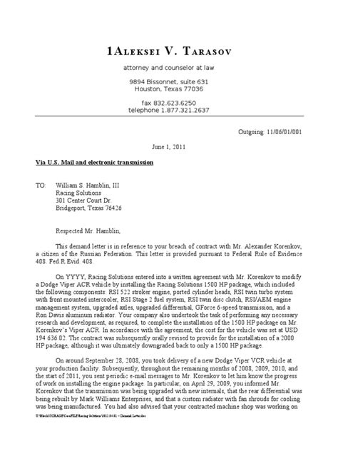 Demand Letter Negligence 2011 06 01 demand letter negligence misrepresentation
