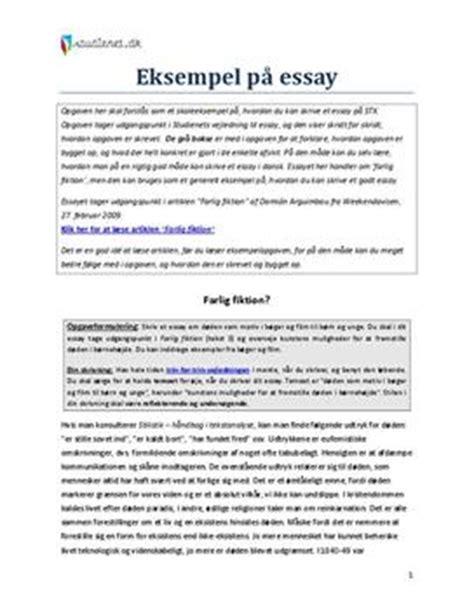 Hvad Er Et Essay by Essay Eksempel Dansk Studienet Dk