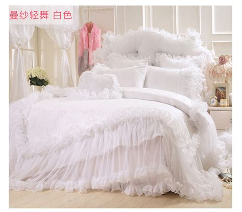 korean web site to order white satin bedspreafs korean satin jacquard lace bed skirts bedding sets king size white cotton wedding