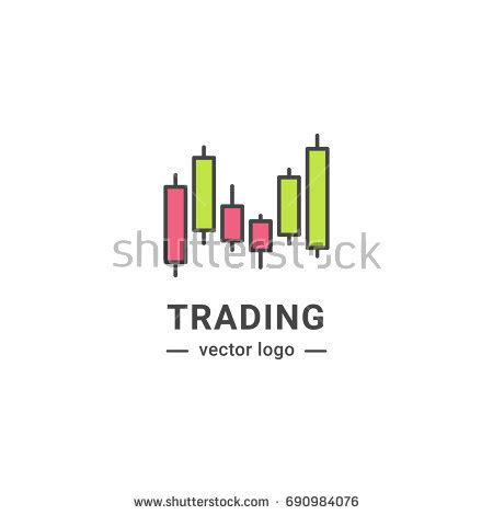 trading graphic logo investment line isolated stock vector