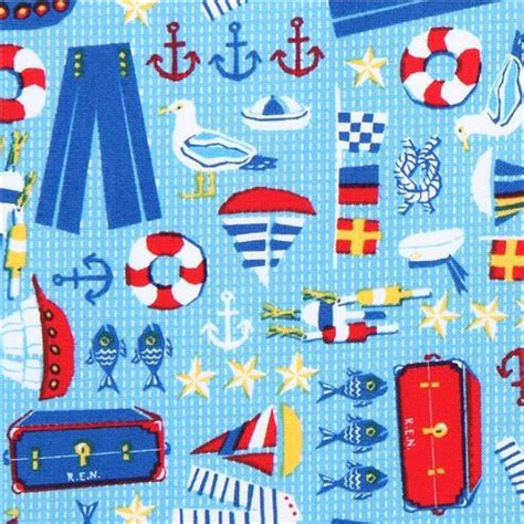 Sailboat Quilt Fabric by 1 2 Yard Quilt Fabric Hey Sailor Anchor Sailboat Nautical