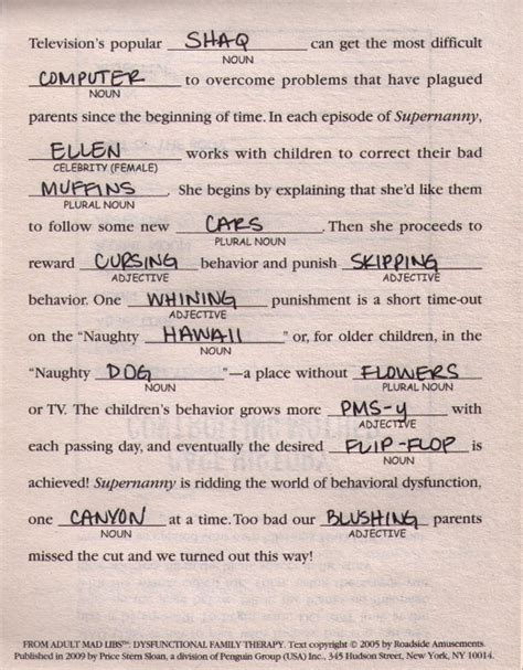 up letter mad libs mad libs monday quot supernanny quot by of i never grew