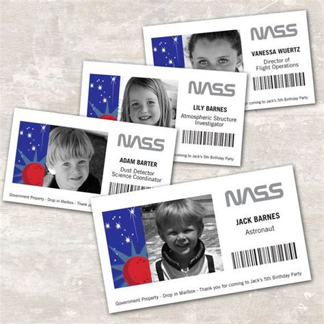 nasa government id card template print ship space rocket astronaut birthday id badges
