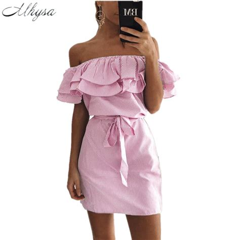 Dress Kerja Stylish New Impor new 2017 summer fashion s new striped dresses ruffle dress casual style comfortable