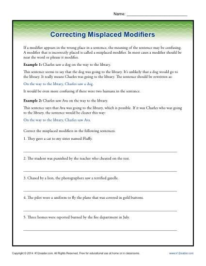 correcting misplaced modifiers word usage worksheet