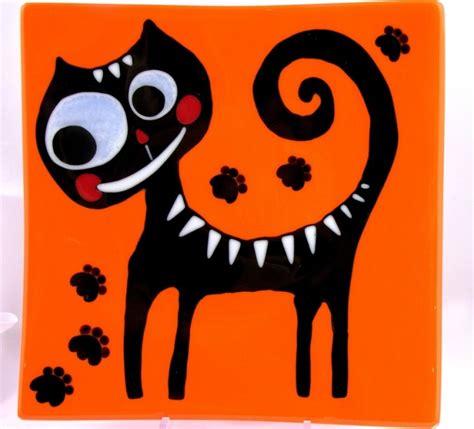K Sq Black Cat Big Size large square glass plate quot black cat quot