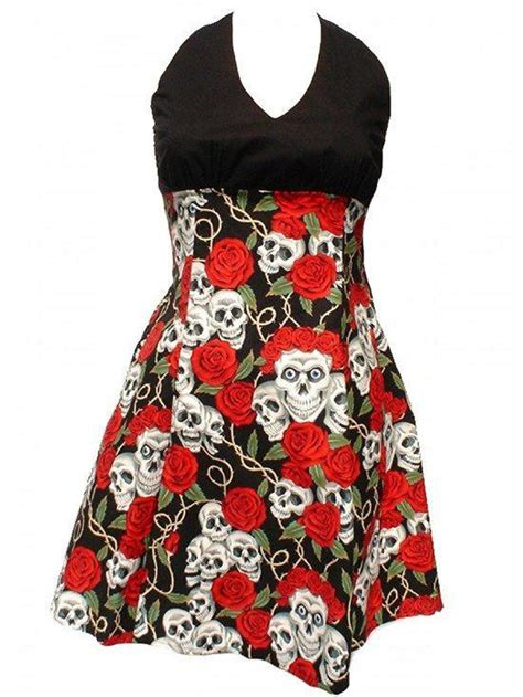 swing me skull and roses dress hemet dress inked shop