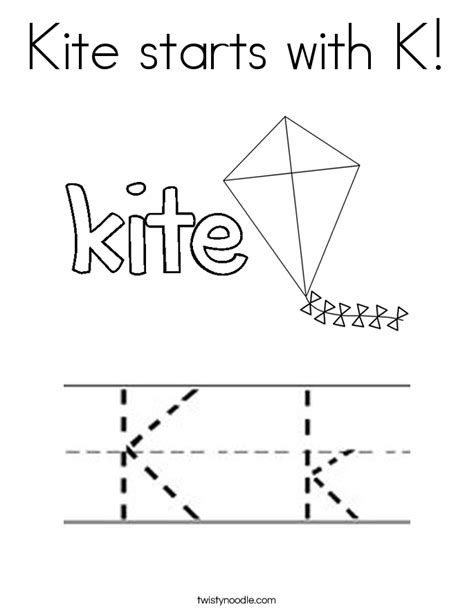 kite starts with k coloring page twisty noodle