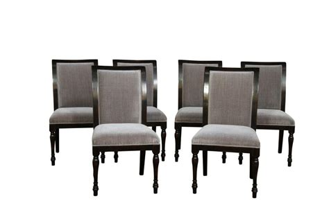 High Quality Dining Chairs 6 Solid Walnut High Quality Dining Chairs With Grey Upholstery Ebay