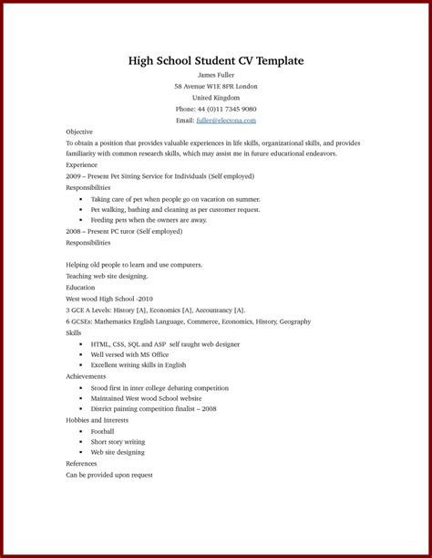 resume for high school students template resume exles
