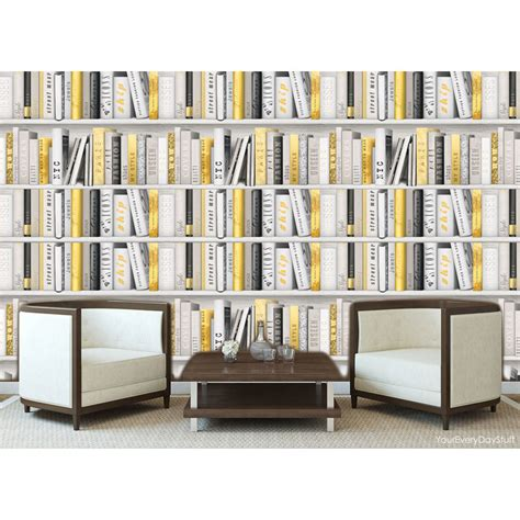 Bookcase Wallpaper Fashion Library Gold White Books White Bookcase Wallpaper