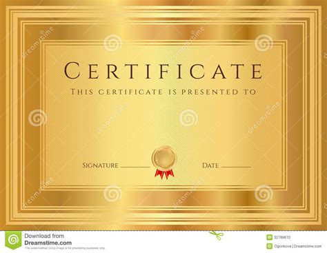Gold Certificate Template gold certificate diploma background template stock