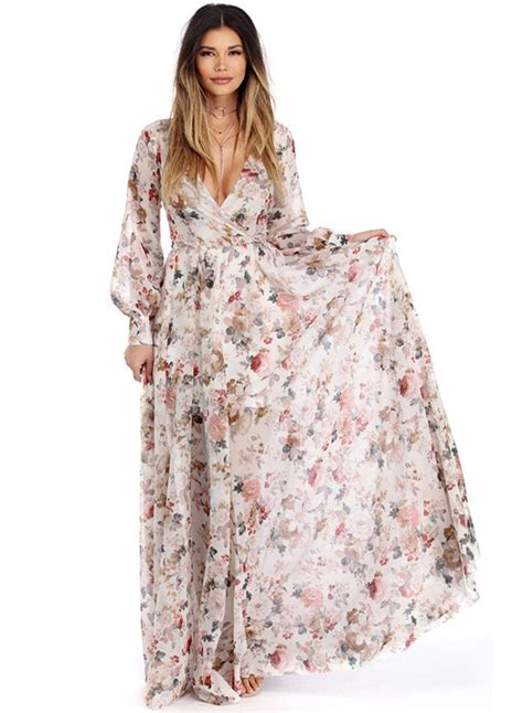 Flowery Dress Maxi s boho v neck sleeve high waist maxi floral