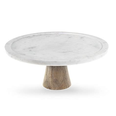 Home Decor Store Canada artisanal kitchen supply white marble and wood cake stand